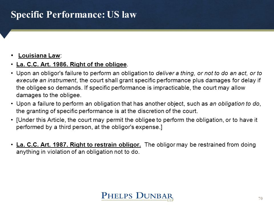 Specific Performance: US law