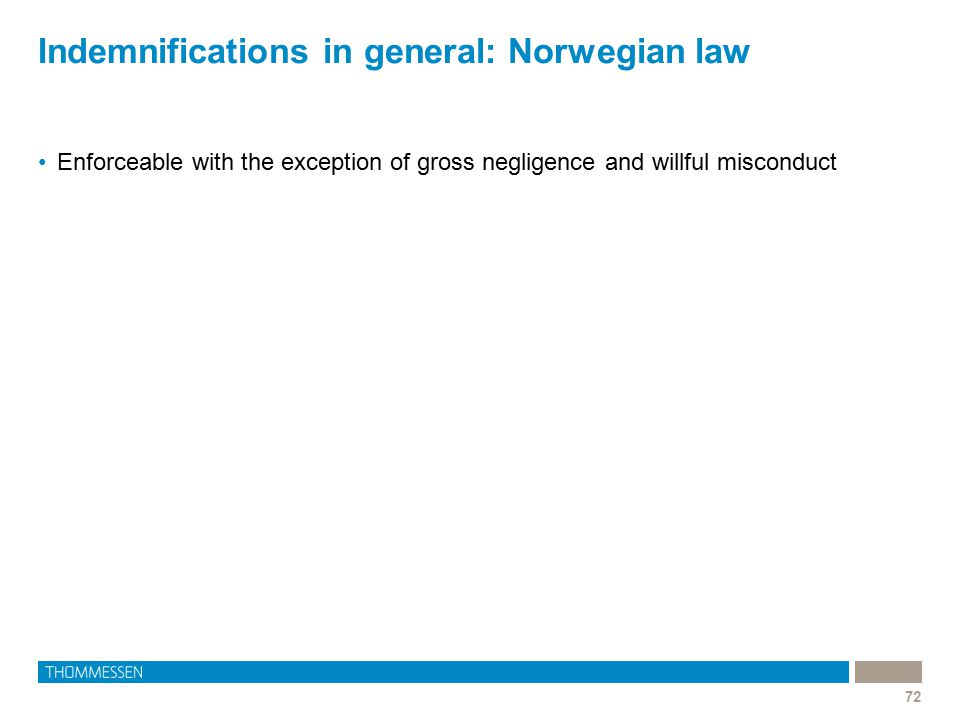 Indemnifications in general: Norwegian law