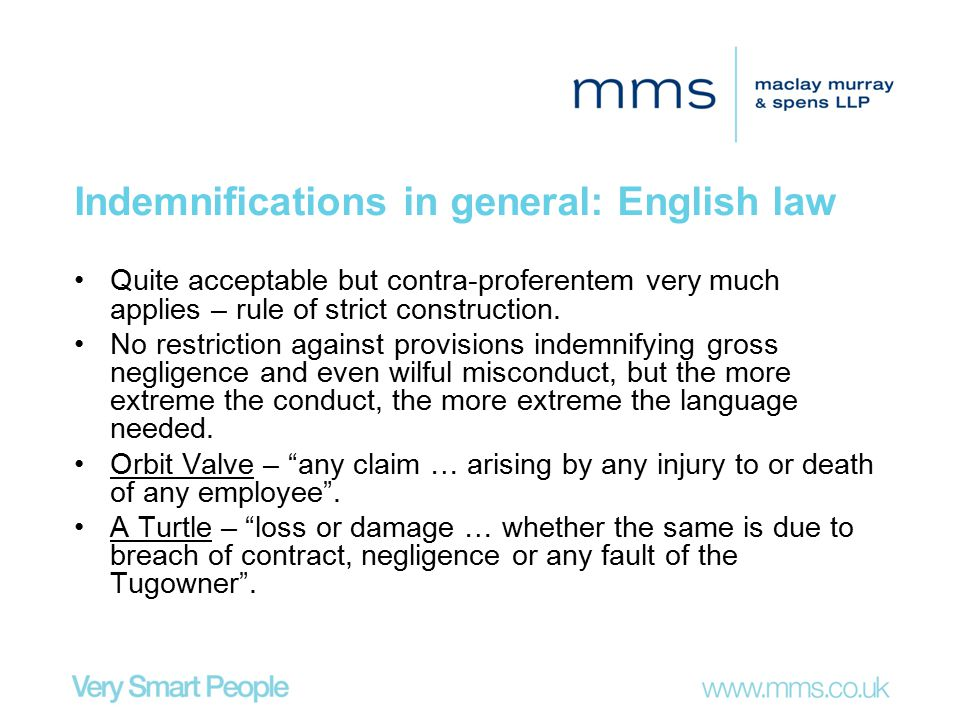 Indemnifications in general: English law