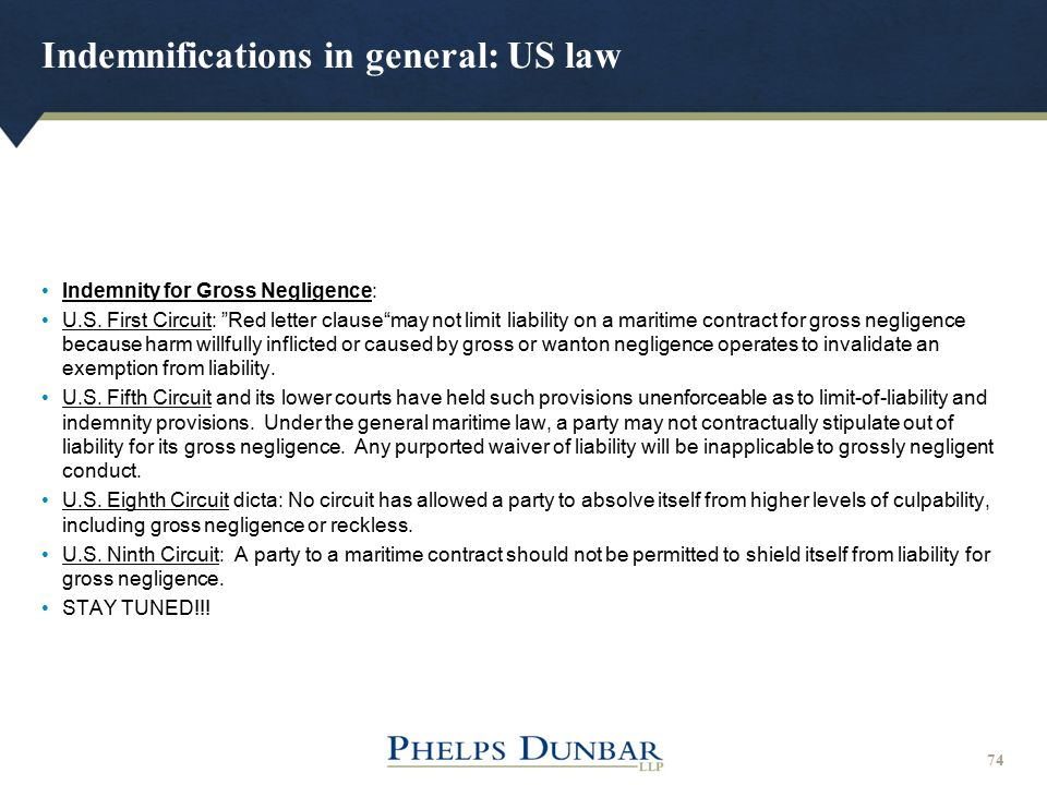 Indemnifications in general: US law
