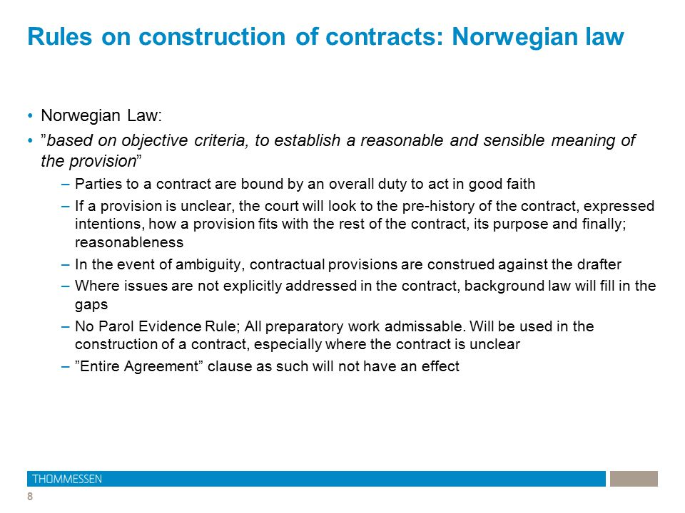 Rules on construction of contracts: Norwegian law