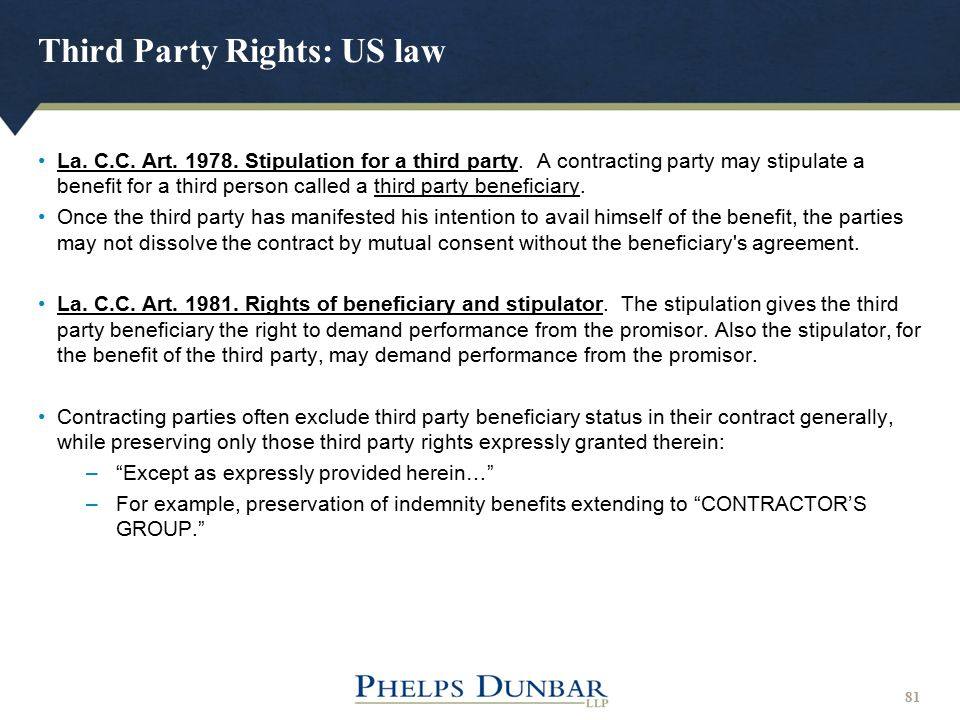 Third Party Rights: US law