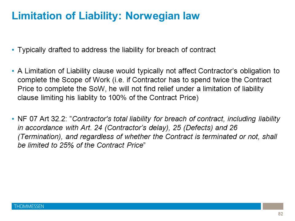 Limitation of Liability: Norwegian law