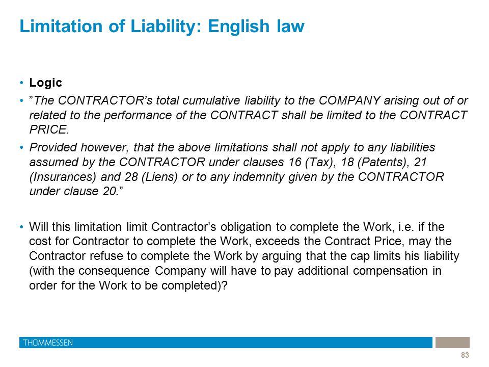 Limitation of Liability: English law