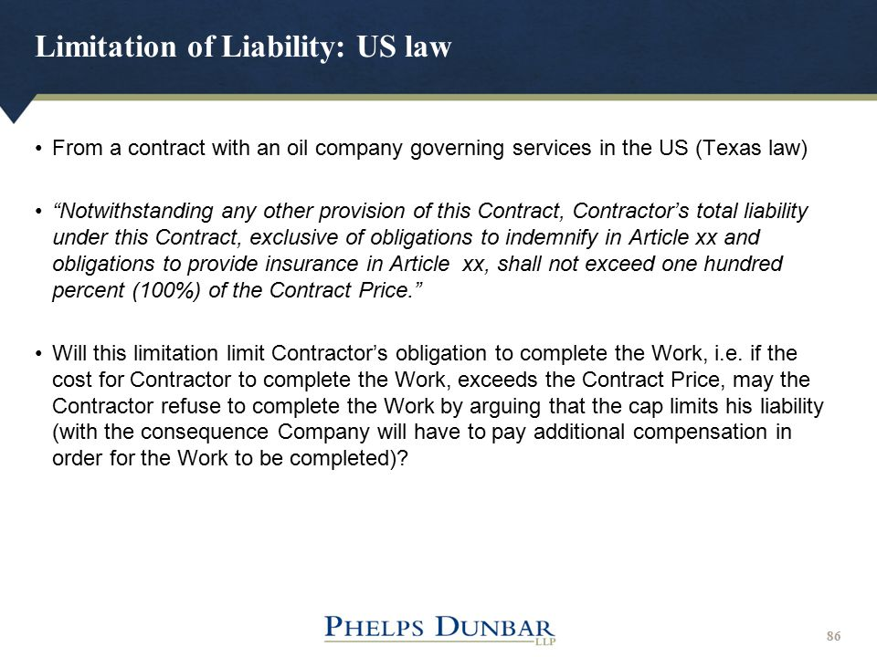 Limitation of Liability: US law