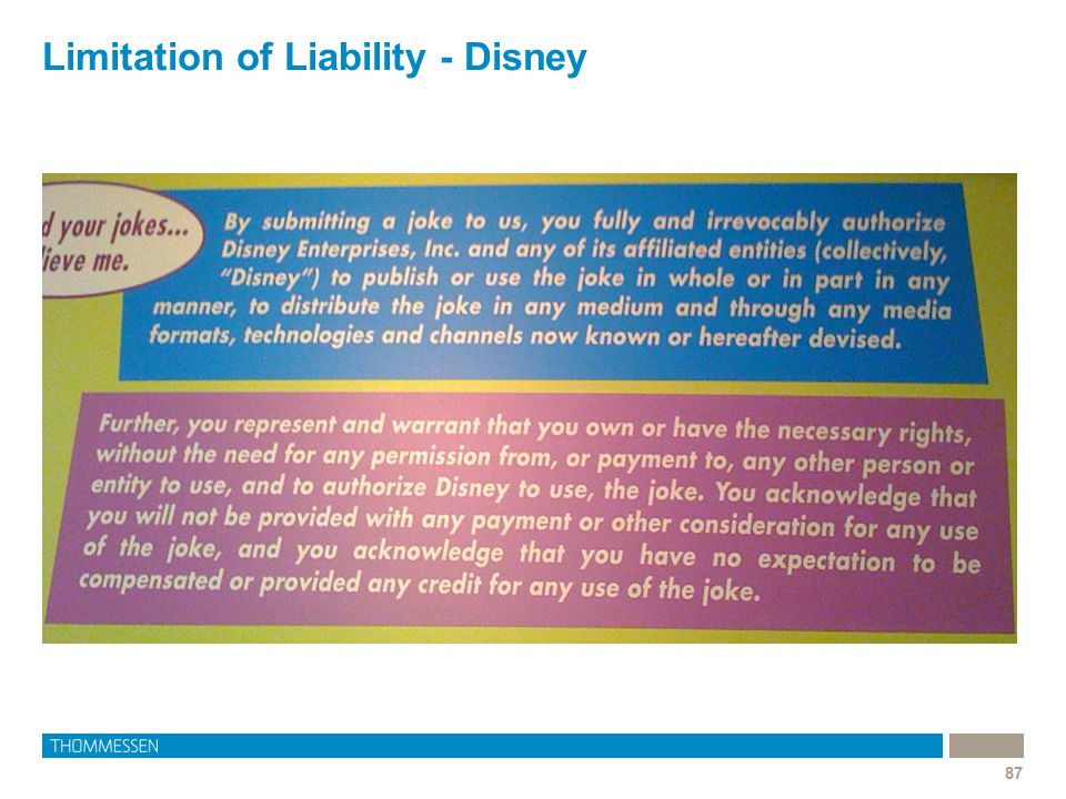 Limitation of Liability - Disney