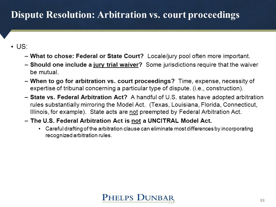 Dispute Resolution: Arbitration vs. court proceedings