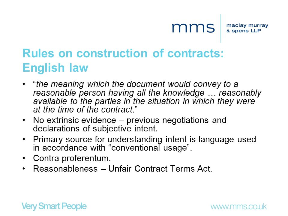 Rules on construction of contracts: English law