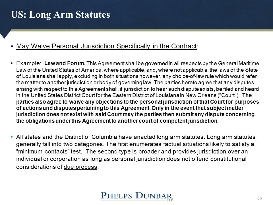 US: Long Arm Statutes May Waive Personal Jurisdiction Specifically in the Contract: