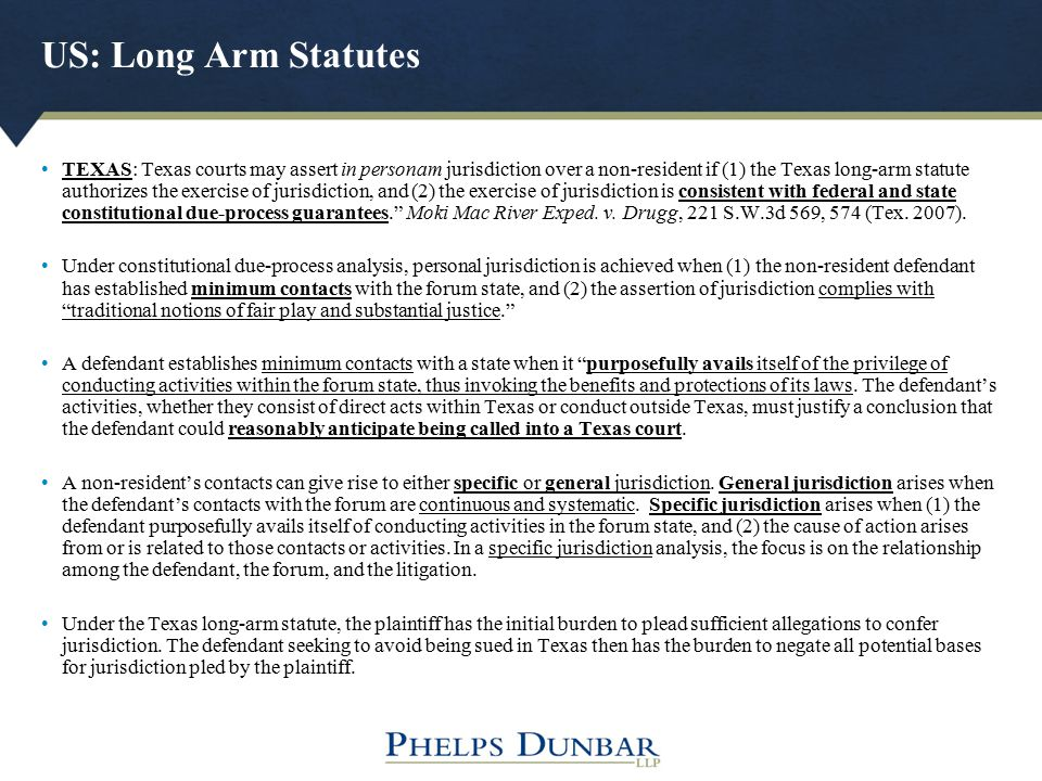 US: Long Arm Statutes