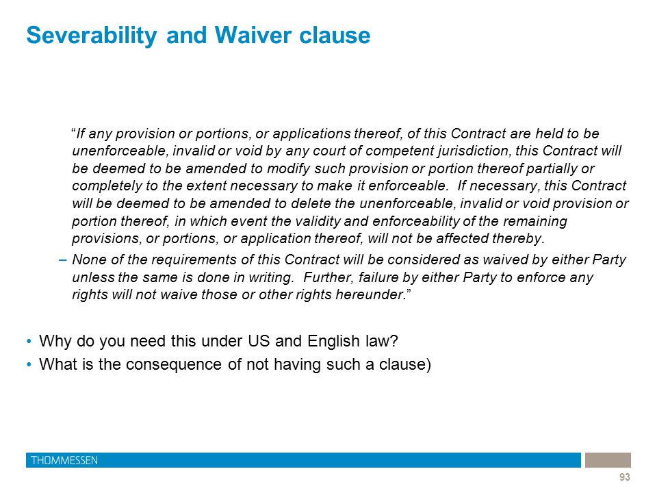 Severability and Waiver clause