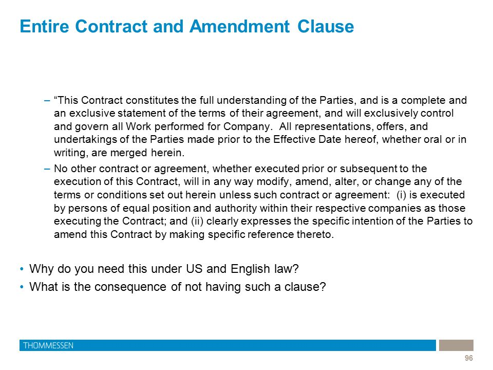 Entire Contract and Amendment Clause