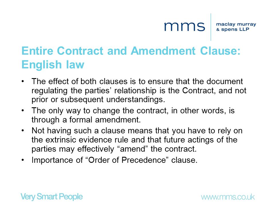 Entire Contract and Amendment Clause: English law