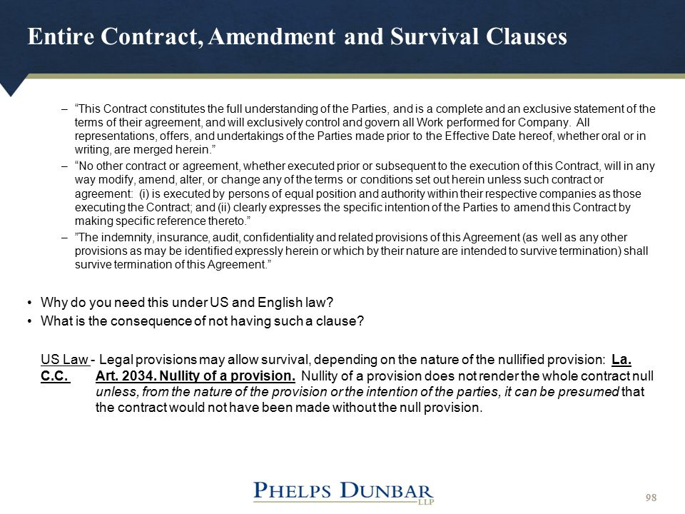 Entire Contract, Amendment and Survival Clauses