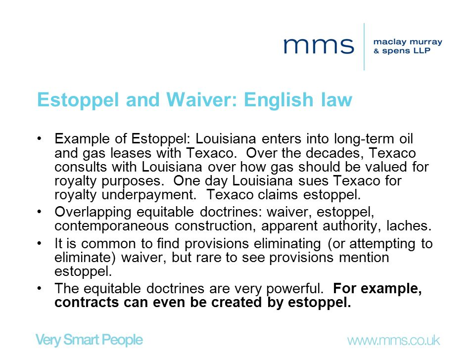 Estoppel and Waiver: English law
