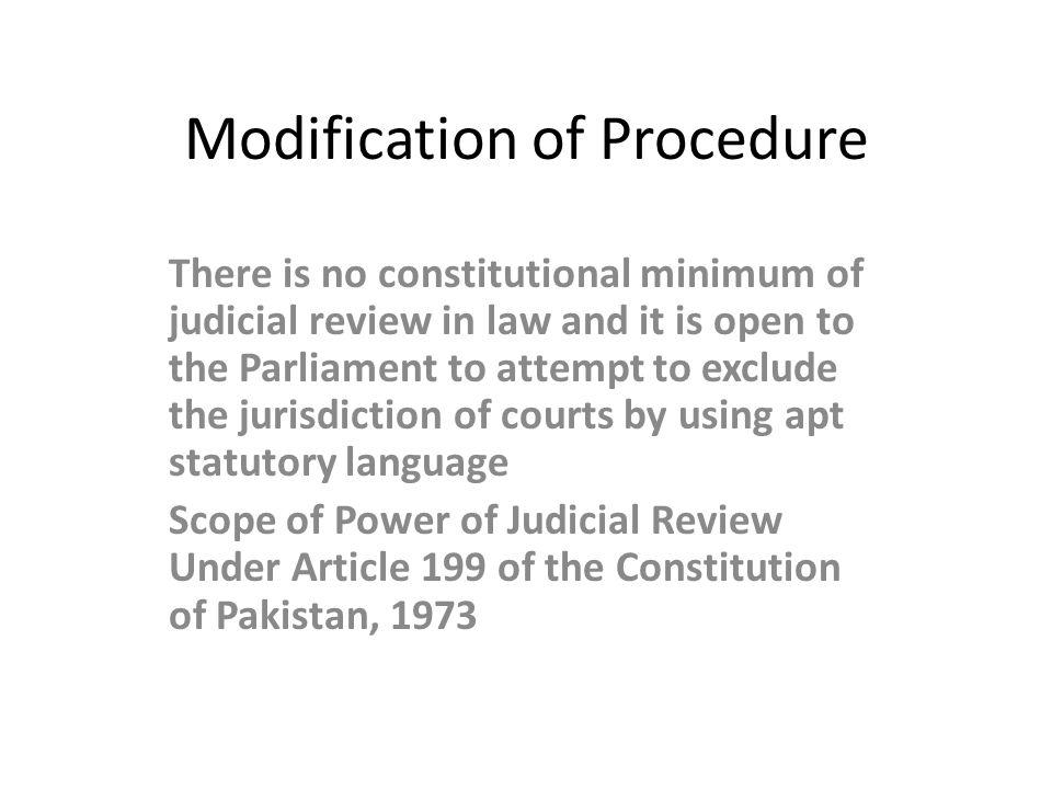 Modification of Procedure