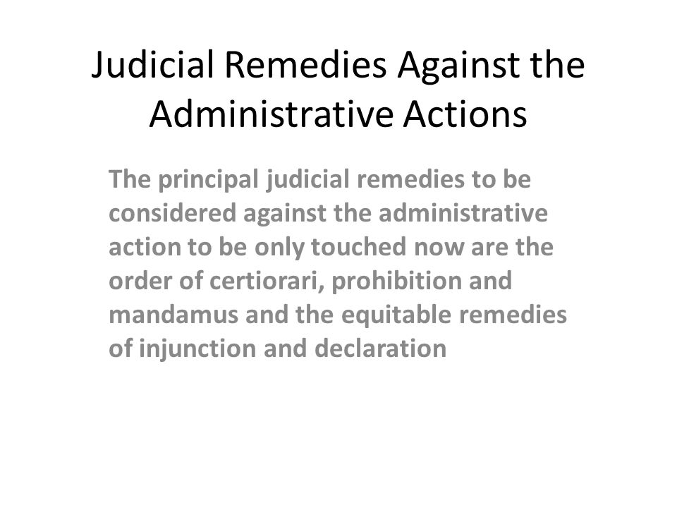Judicial Remedies Against the Administrative Actions