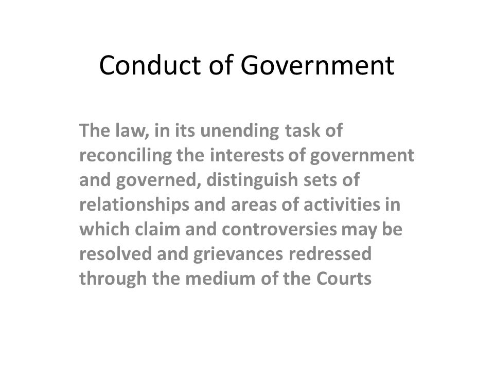Conduct of Government