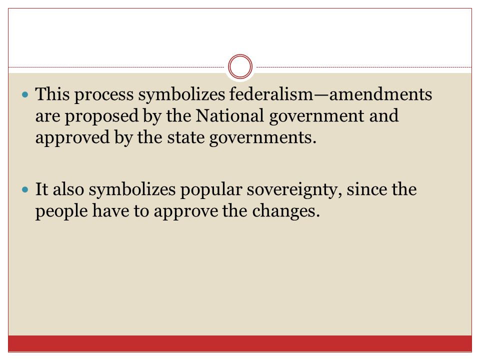This process symbolizes federalism—amendments are proposed by the National government and approved by the state governments.