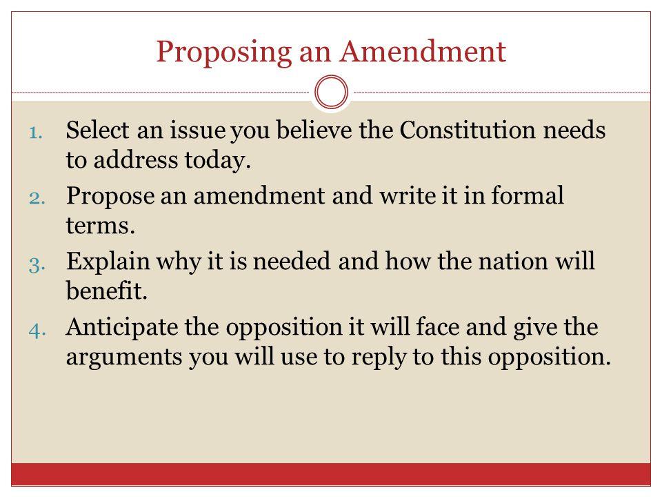 Proposing an Amendment