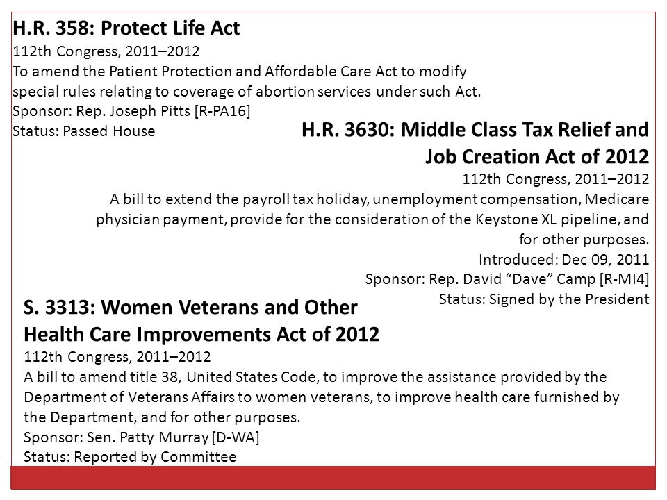 H.R. 3630: Middle Class Tax Relief and Job Creation Act of 2012