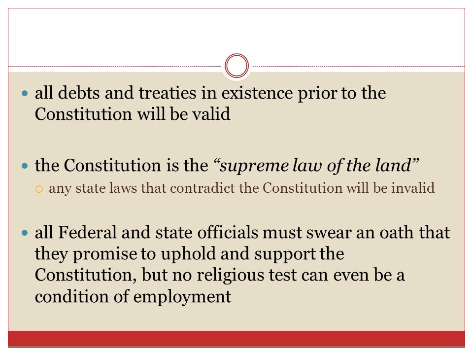 the Constitution is the supreme law of the land
