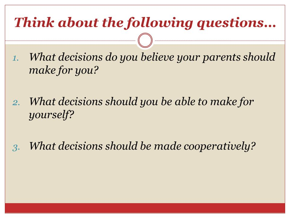 Think about the following questions…