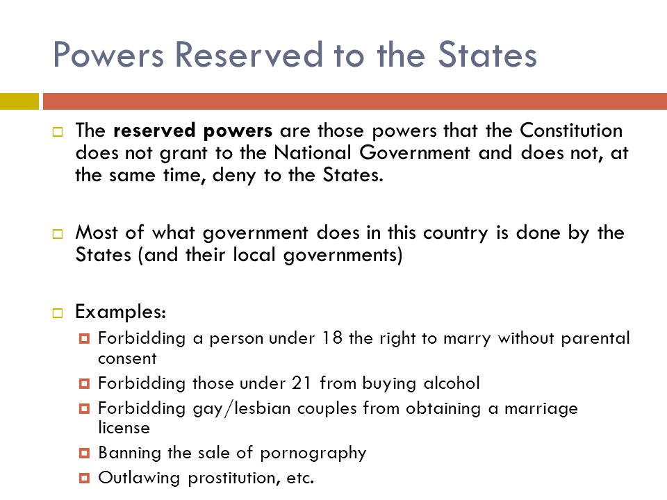 Powers Reserved to the States