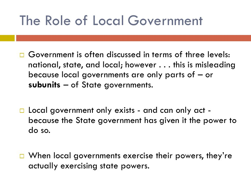 The Role of Local Government