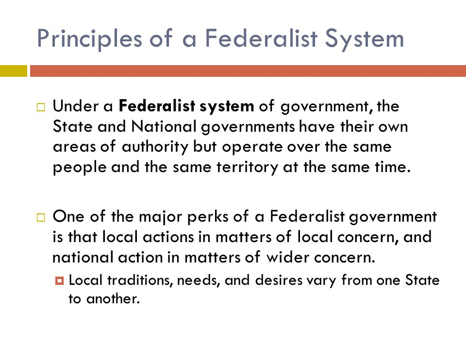 Principles of a Federalist System