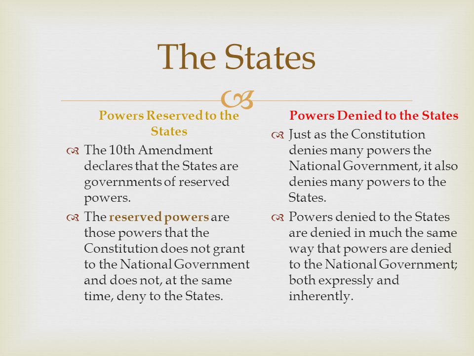 The States Powers Reserved to the States