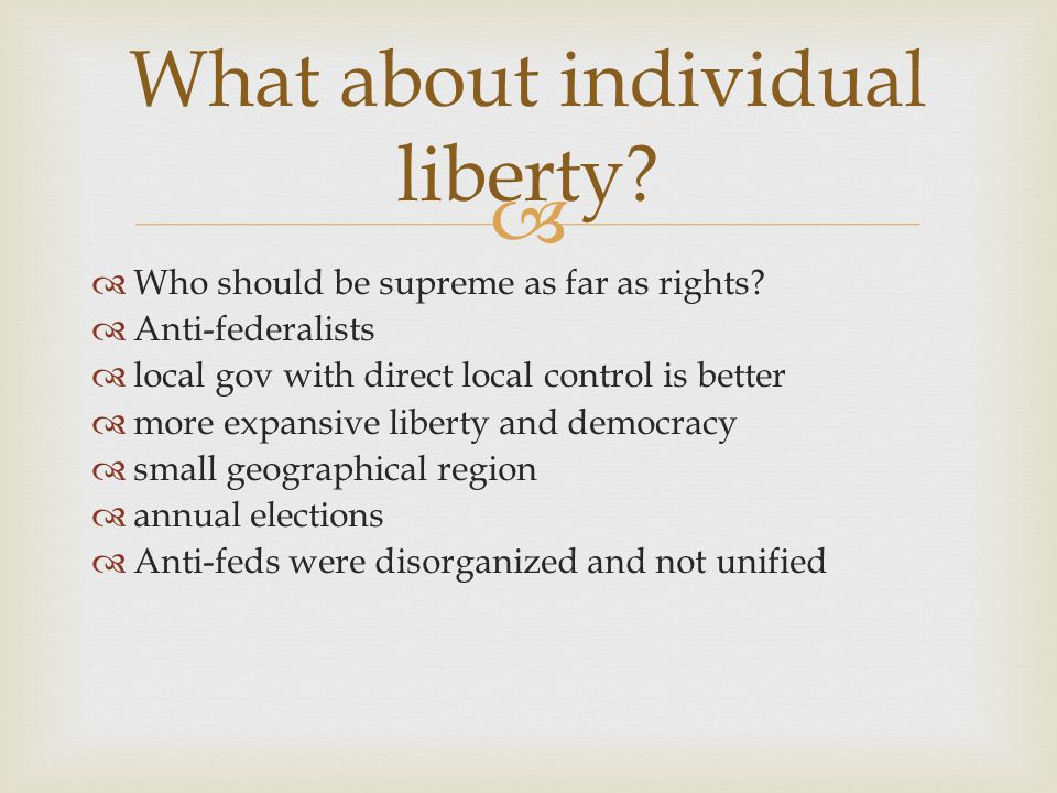 What about individual liberty