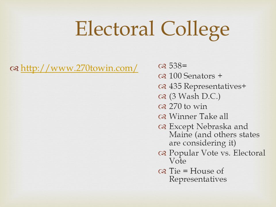 Electoral College http://www.270towin.com/ 538= 100 Senators +