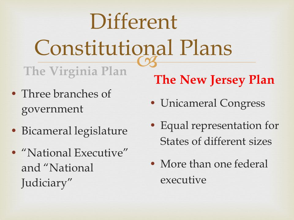 Different Constitutional Plans