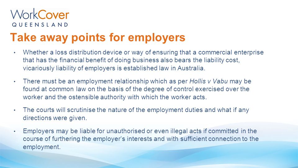 Take away points for employers