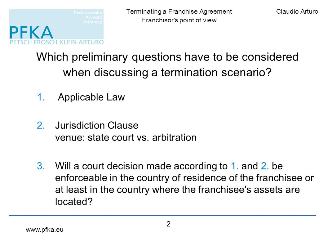 Which preliminary questions have to be considered when discussing a termination scenario