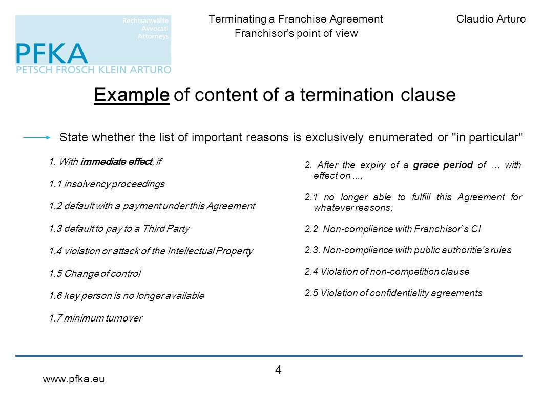 Example of content of a termination clause