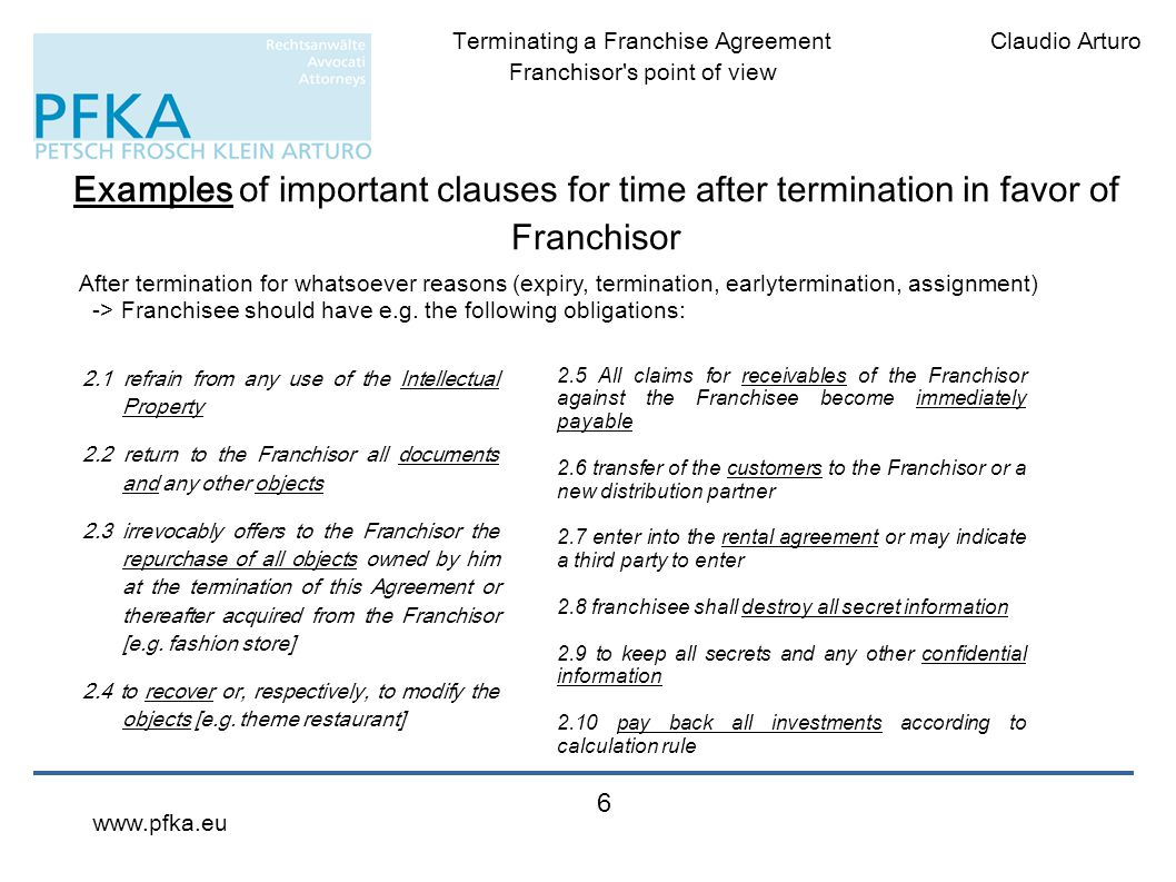 Examples of important clauses for time after termination in favor of Franchisor