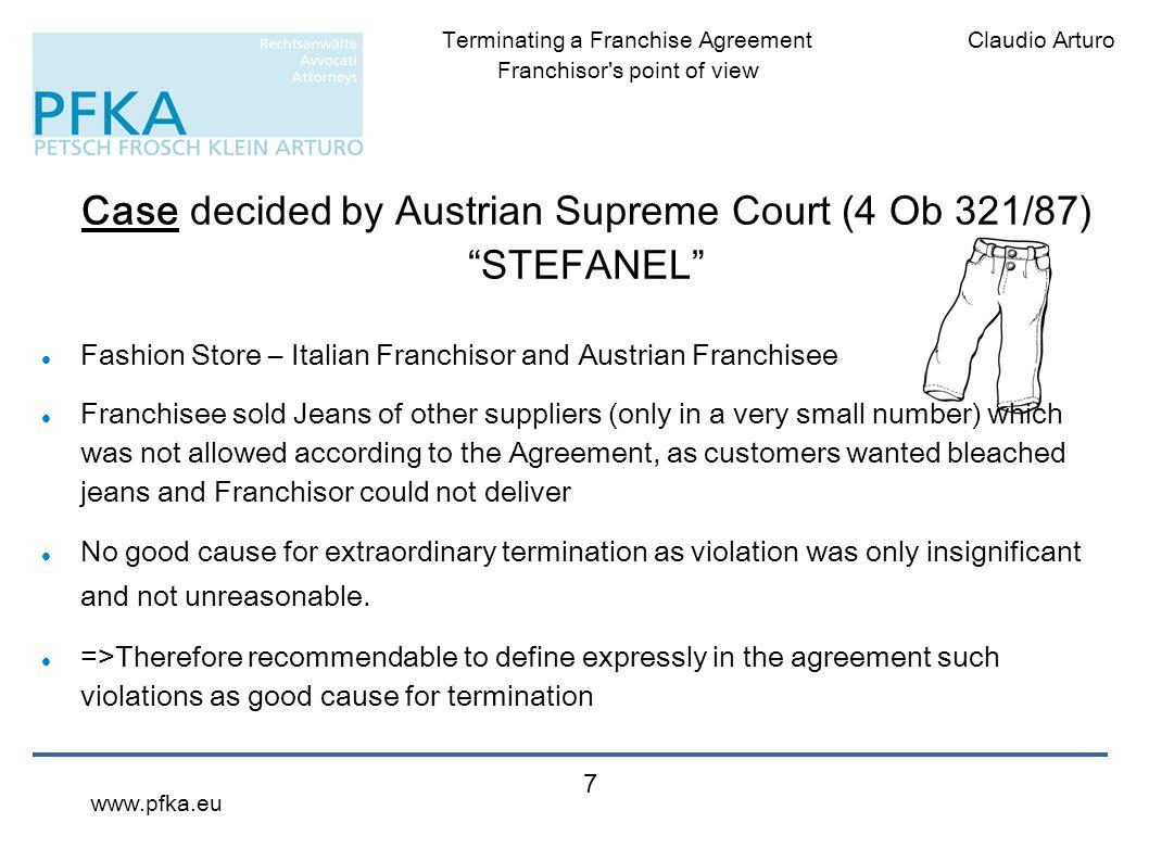 Case decided by Austrian Supreme Court (4 Ob 321/87) STEFANEL