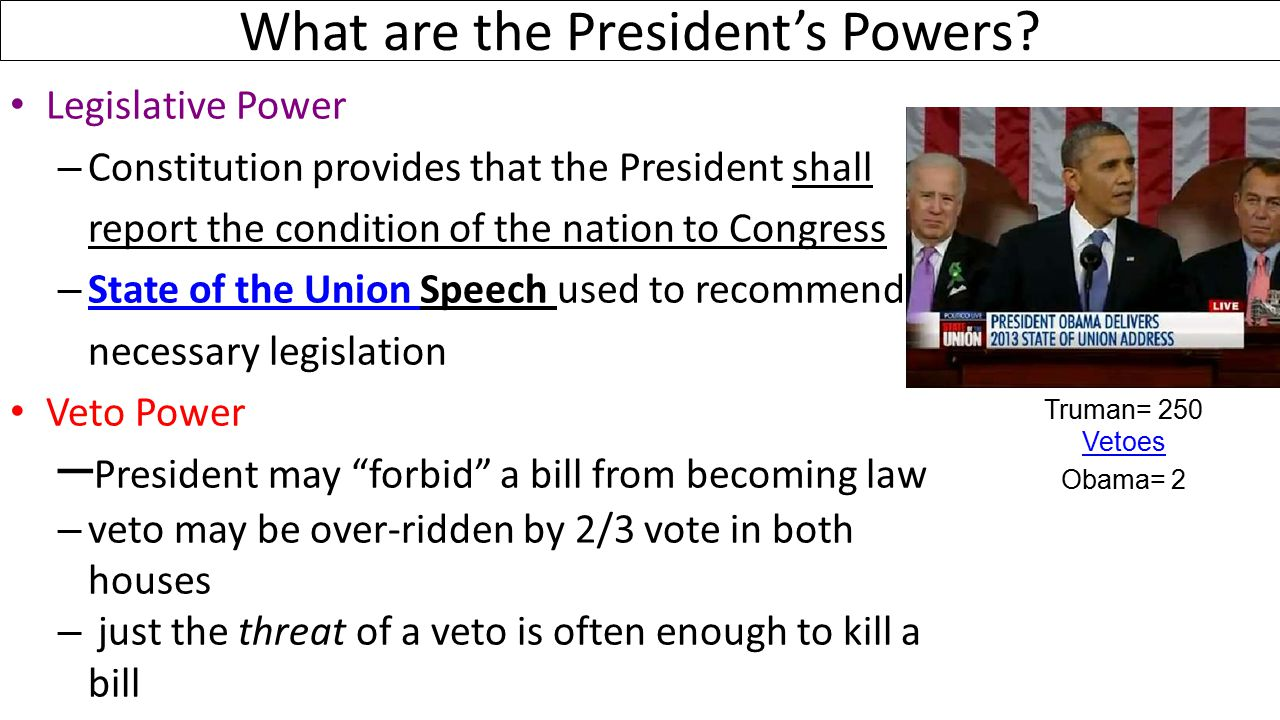 What are the President's Powers