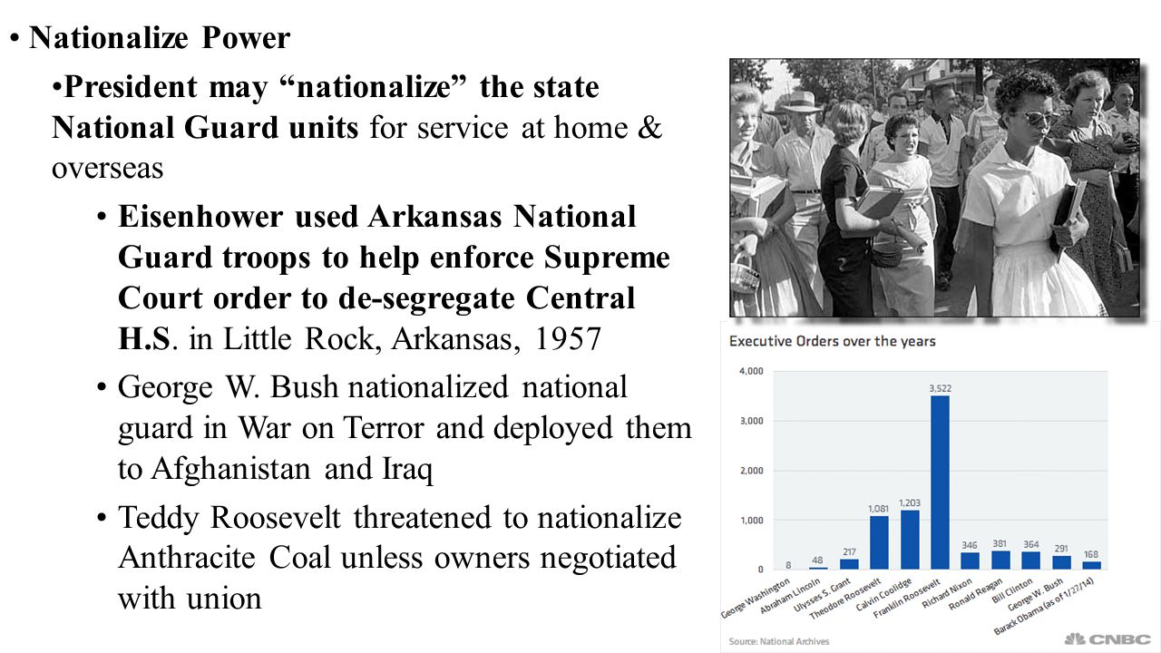 Nationalize Power President may nationalize the state National Guard units for service at home & overseas.