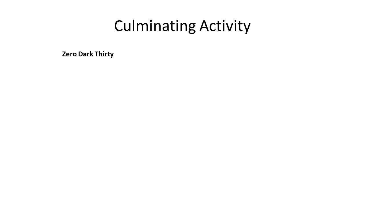 Culminating Activity Zero Dark Thirty