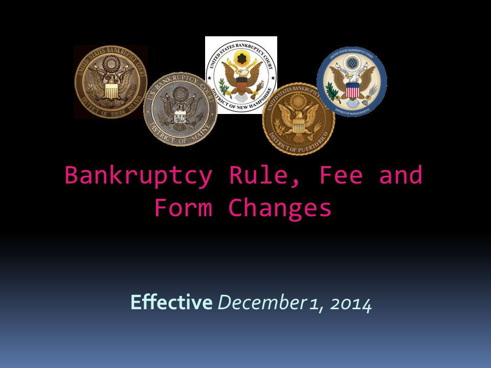 Bankruptcy Rule, Fee and Form Changes