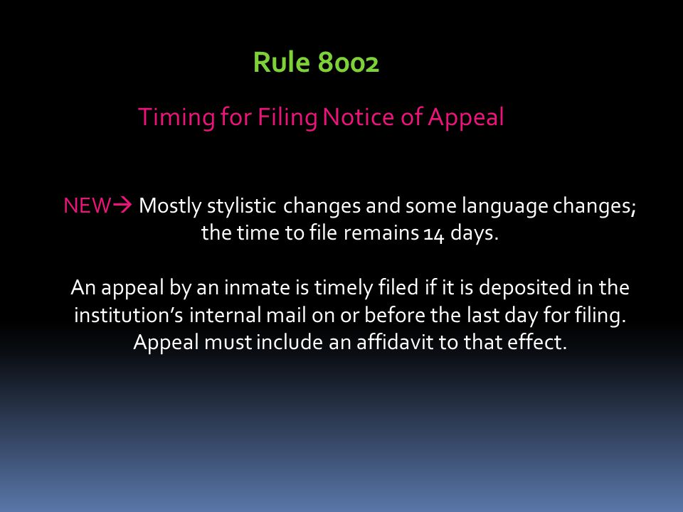Timing for Filing Notice of Appeal