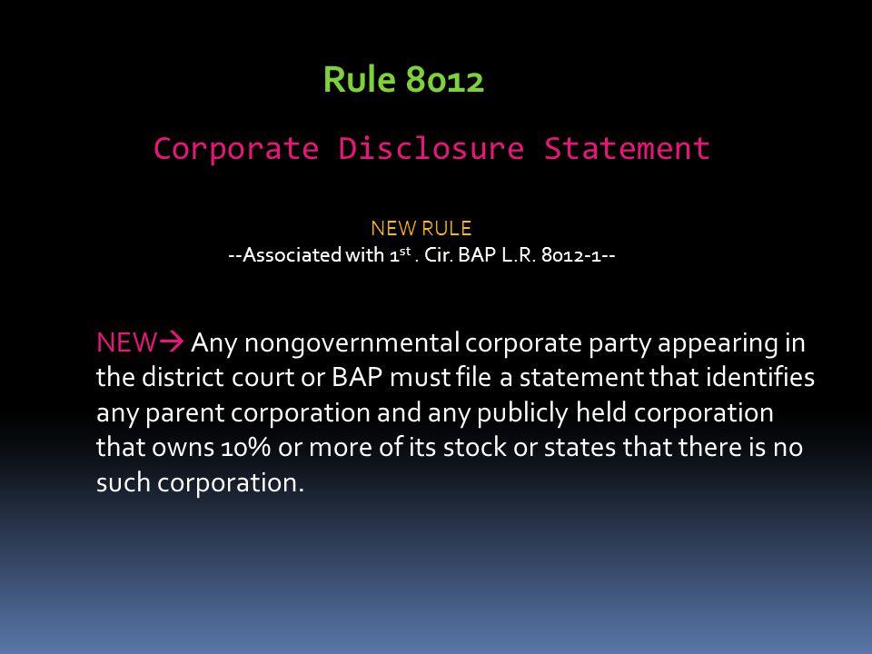Rule 8012 Corporate Disclosure Statement