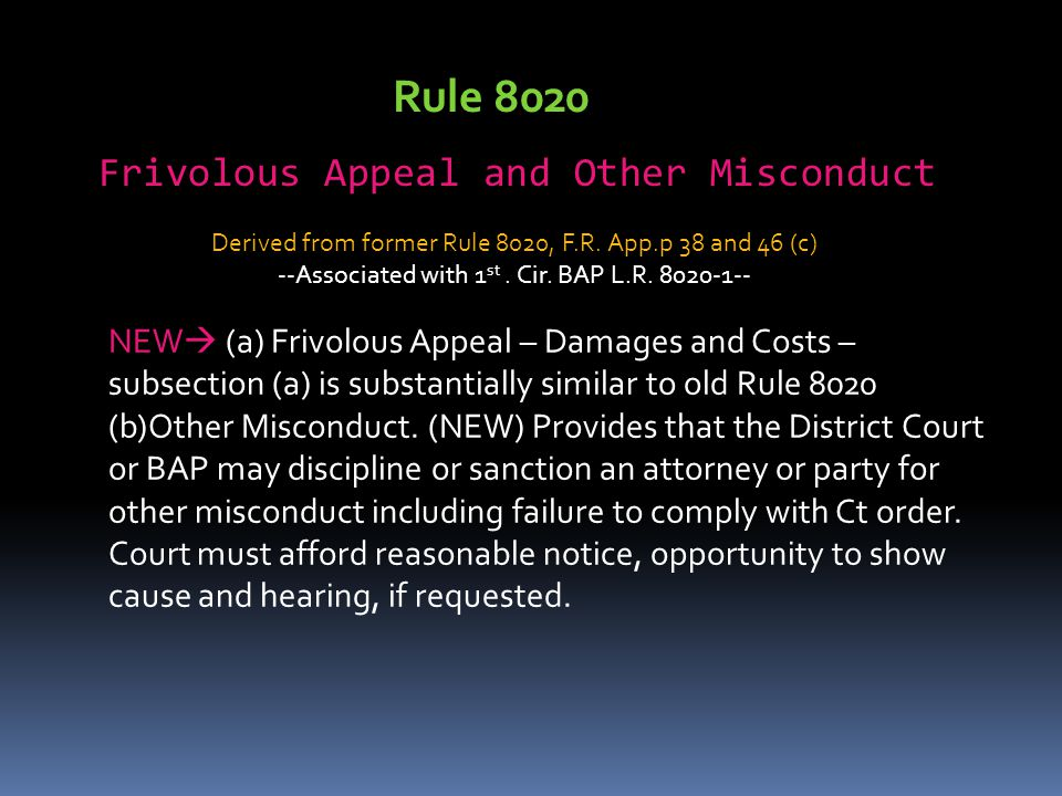 Rule 8020 Frivolous Appeal and Other Misconduct
