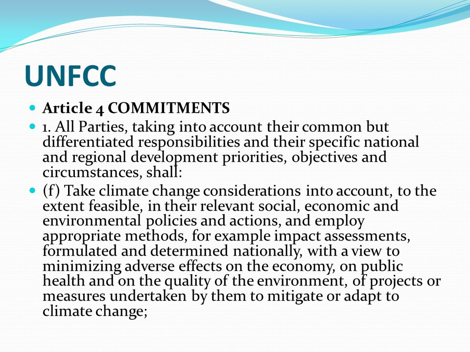 UNFCC Article 4 COMMITMENTS