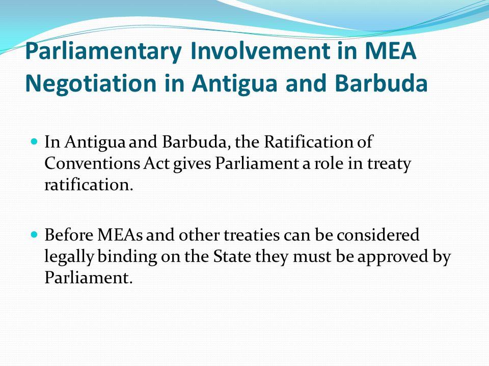Parliamentary Involvement in MEA Negotiation in Antigua and Barbuda