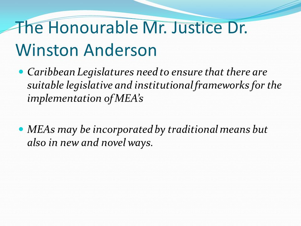 The Honourable Mr. Justice Dr. Winston Anderson