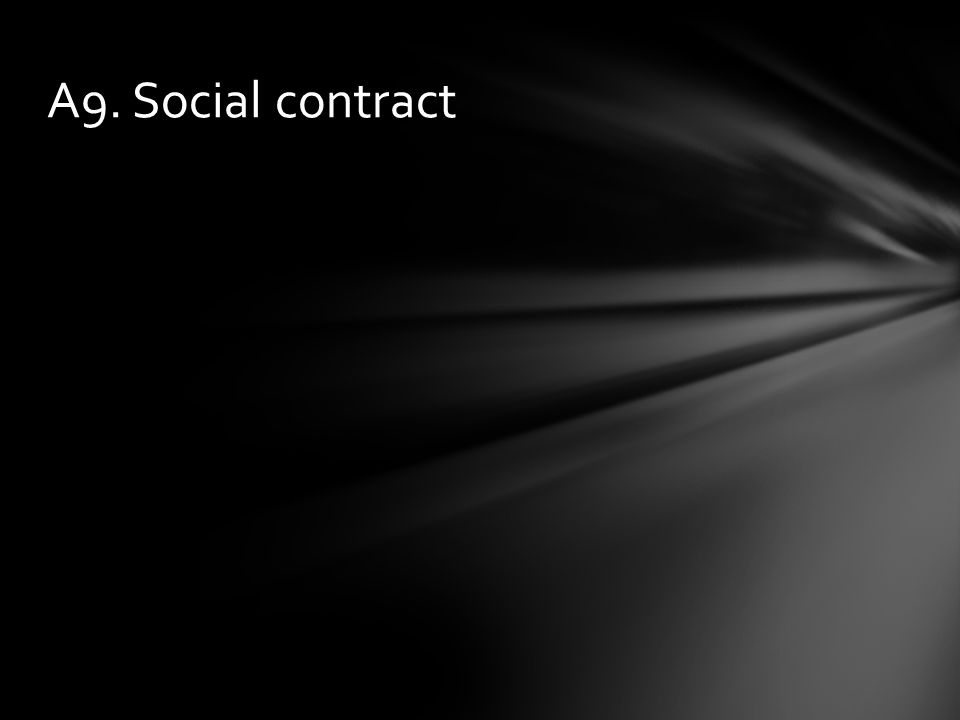 A9. Social contract